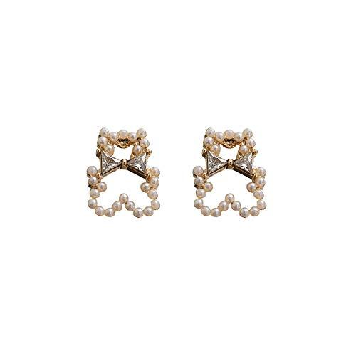 BeniPendientes de oso pendientes de perlas lindos estilo simple femenino nuevo