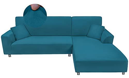 Taiyang Funda para sofá en Forma de L, 1 Pieza Funda para Sofá 3 Plazas (Fundas para Sofa Chaise Longue Necesita Dos), Tela Elástica y Cómoda con 1 Fundas de Almohada (3 Asientos, Lago Azul)