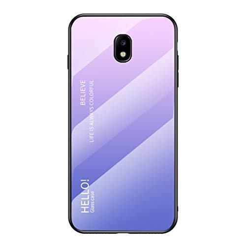 LUSHENG Custodia per Samsung Galaxy J5 (2017), Cover Posteriore in Vetro Temperato Sfumato Custodia Morbida in TPU, per Samsung Galaxy J5 (2017) (5.2') - Rosa+Viola