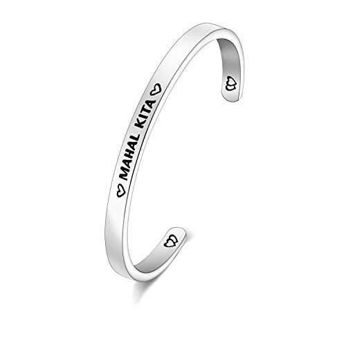 PENQI Mahal Kita Bangle Philippines Bangle Cuff Filipino Quote Jewelry Tagalog Bracelet for Boyfriend Girlfriend Husband and Wife Bracelet Anniversary Present for Women Jewelry (k-Mahal Kita)