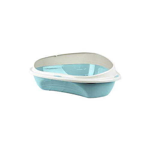 PATAM Lettiera per Gatti con Bordo Salva Sporco – Toilette per Gatti Aperta con Design Angolare Salvaspazio 49 x 40 x 17,5 cm Corner Mini Azzurro