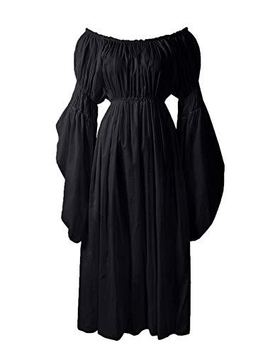 ReminisceBoutique Renaissance Medieval Costume Pirate Faire Celtic Chemise Under Dress (Regular, Black)