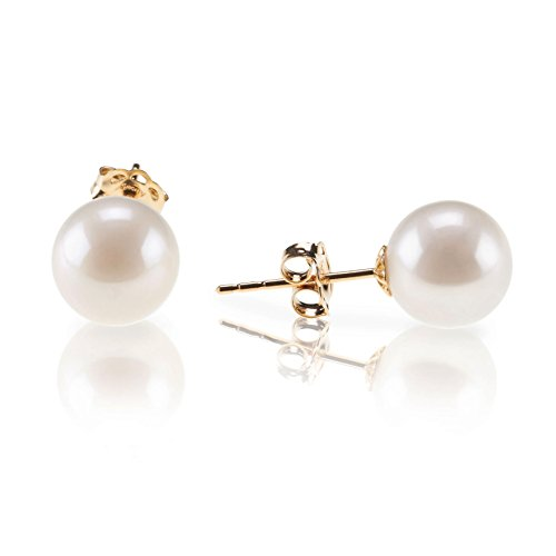 PAVOI 18K Yellow Gold Plated Sterling Silver Round Stud White Simulated Shell Pearl Earrings - 8mm