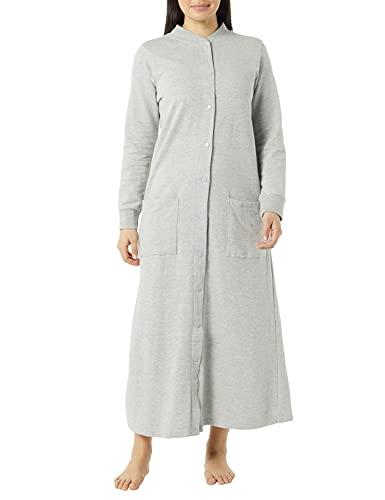 AmeriMark Women's Fleece Snap Front Long Bath Robe w/ Patch Pockets & Neck Cuff Gray 1X