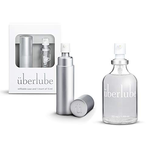 Überlube Lubricant Home and Travel Kit   Latex-Safe Natural Silicone Lube with Vitamin E   Unscented, Flavorless, Zero Residue, Works Underwater - 50ml + 15ml Silver Kit