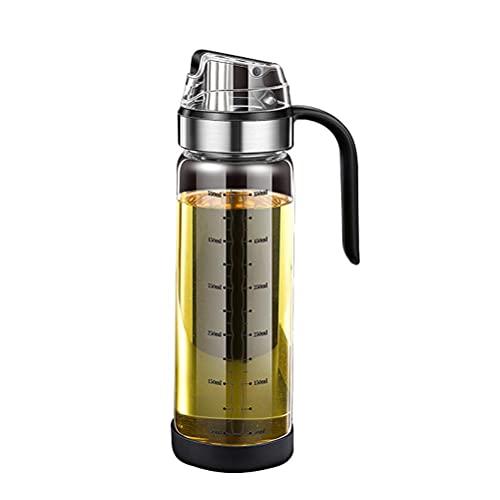 spier Dispensador de aceite de oliva, recipiente de 500 ml, dispensador de aceite de oliva, de acero inoxidable y cristal, recipiente para barbacoa, cocinar, asar y pasta