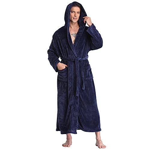 Albornoces Albornoz Kimono Informal para Hombre Bata Larga Sólida De Invierno con Bolsillo Ropa De Dormir Gruesa Y Cálida con Capucha Camisón para Hombre Ropa De Casa Suelta Navy L XL