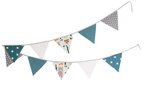 Guirnalda de banderines de ULLENBOOM ® con bosque, verde, azul (guirnalda de tela: 3,25 m; 10 banderines; decoración para la habitación de los niños; fiestas de bienvenida para bebés)