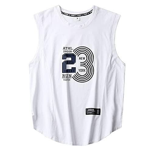 Mikelabo Camiseta de compresión para hombre, de algodón, para baloncesto blanco XXL