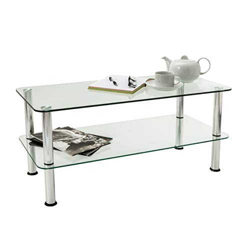 Mountright 2-Tier Glass Table - Small Glass Coffee Table with Chrome Finished Legs - Clear Safety Glass Side Table with Rounded Edges