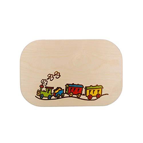 Brink Holzspielzeug Frühstücksbrett Eisenbahn Lok Holz Namen Frühstücksbrettchen mit kostenloser Gravur Vesper Brett Eisenbahn Zug Lokomotive Frühstück Brettchen