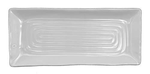 Lucky Star Melamine Rectangular Dinner Serving Plate, White, 12-pcs per case (1 dozen) (10-1/2' L X 4-1/2' W)