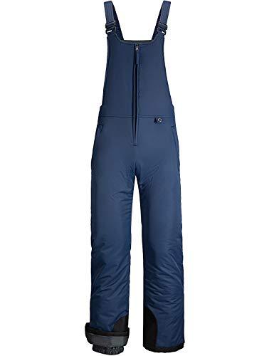 GEMYSE Women's Insulated Waterproof Ski Bib Overalls Winter Snowboarding Pants (Navy Black,Medium)