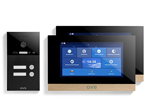 GVS Videoportero IP IP65 con RFID, 2 monitores de 10 pulgadas, aplicación, cámara HD de 120°, apertura de puertas, memoria de 32 GB, interruptor PoE, juego de 2 casas, AVS4279A
