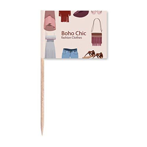 Bohe Mia Wind Fashion Kleidung Mädchen Zahnstocher Flaggen Marker Topper Party Dekoration