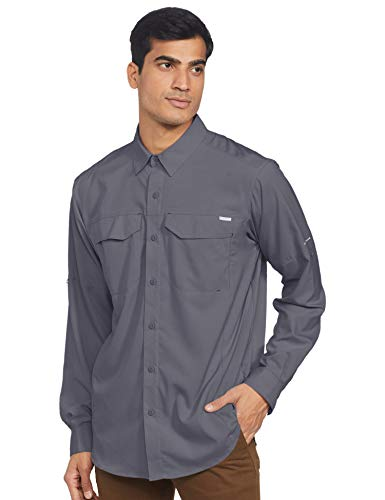Columbia Men's Silver Ridge Lite Long Sleeve Shirt, UV Sun Protection, Moisture Wicking Fabric, Graphite, Medium