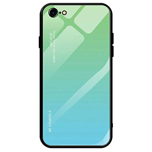 Dclbo Hülle für iPhone 6 / iPhone 6S,Handyhülle Schutzhülle Hart Plastik Glas Spiegel Case Elegant Hülle Silikon Dünn Rahmen Schale Etui Cover Handytasche für iPhone 6 / iPhone 6S-Grün Blau