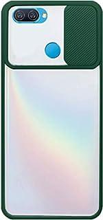 لاوبو ايه 12 / ايه 5 اس / اف 9 جراب خلفى بلاستيك بغطاء حامى للكاميرا وإطار سيليكون - شفاف و اخضر
