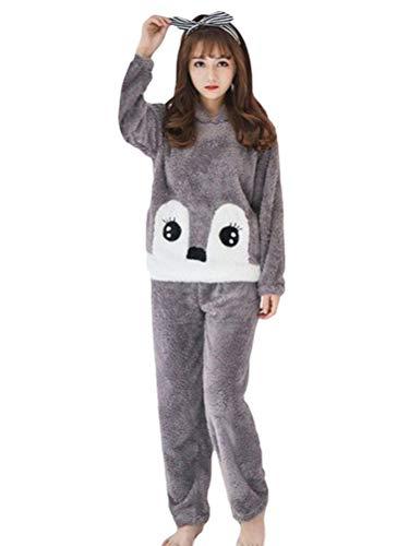 Minetom Mujer Niña Invierno Pijamas Cálido Felpa 2 Piezas Conjuntos Animales Bonitos Conejo Sudaderas con Capucha y Pantalon Largos Suave Comodo B Gris 42
