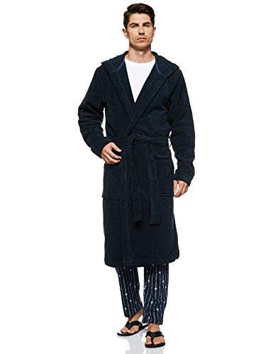 Tommy Hilfiger Icon Hooded Bathrobe Accappatoio, Blu (Navy Blazer-pt 416), M Uomo