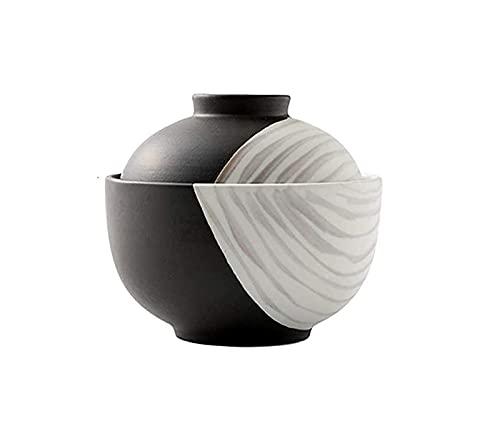 NBXLHAO Tazón de Sopa de cerámica Japonesa con Tapa Tazón de Ramen Retro Tazón de arroz para el hogar Tazón de Ensalada para Estudiantes Soup Bowls