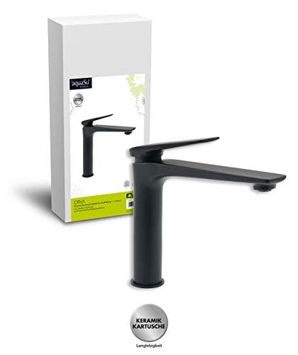 'aquaSu® Waschtischarmatur Orva in schwarz mit Schaftventil für Waschbecken ohne Überlauf, mittelhoch mit 20 cm Ausladung, Einhebelmischer aus Messing mit Keramikkartusche, 77019 4