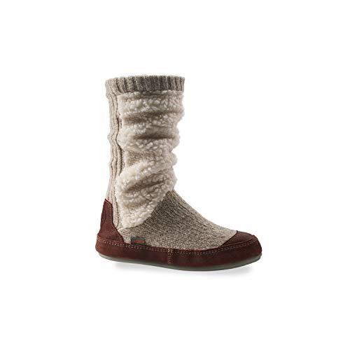 Acorn Women's Slouch Sock Boot Slipper, Indoor & Outdoor House Shoe with Memory Foam, Buff Popcorn, 6.5-7.5