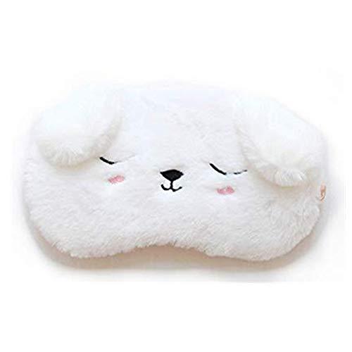 Schlafmaske, Plüsch Augenmaske Abdeckung, Augenmaske Nachtmaske Seide Schlafbrille Verstellbarem Augenschutz für Reisen(Weiß Hündchen)