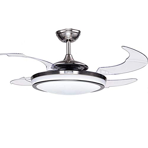 "Fandian 48"" Modern Ceiling Fan with Light Remote Control Retractable Blades for Living Room Bedroom Restaurant, Brush Chrome with Silent Motor"