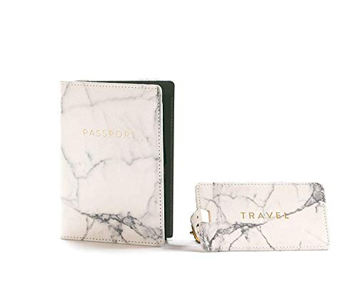Eccolo Marble Passport Cover Holder And Marble Luggage Tag Set