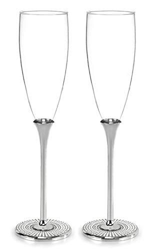 Hortense B. Hewitt Vintage Pearl Champagne Toasting Flutes, Set of 2