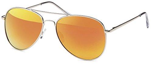 Balinco Pilotenbrille Sonnenbrille 70er Jahre Herren & Damen Sunglasses Fliegerbrille verspiegelt (Silver/Fire)