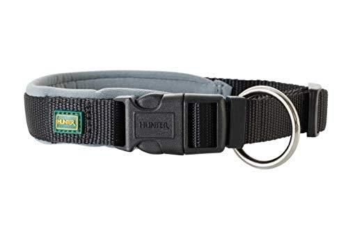 HUNTER NEOPREN VARIO PLUS Halsung, Hundehalsband, Nylon, mit Neopren gepolstert, 40/2,0 (S-M), schwarz/grau