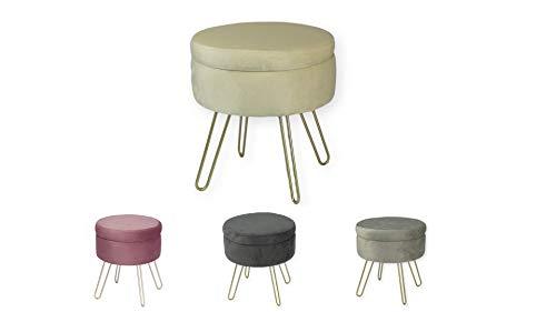 Avior Home Sitzhocker Schminkhocker gepolsterter Hocker Aufbewahrungsbox Abnehmbarer Bezug Metallstütze (Beige)