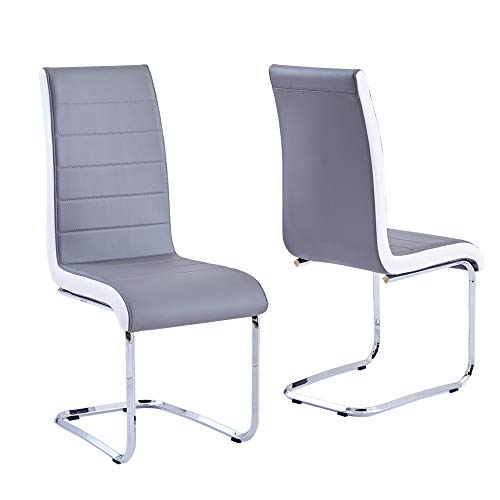 Modern Dining Chairs Set of 2, Grey White Side Dining Room...