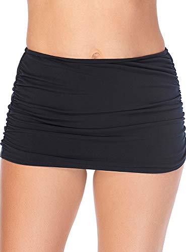 Magicsuit Women's Swimwear Solid Shirred Tummy Control Full Coverage Skirt, Black, 14