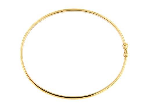 Lucchetta Gioielli d'Oro para mujer – Pulsera rígida de oro amarillo 585 (14 k) – 18 cm – Fabricado en Italia certificado, BC2746