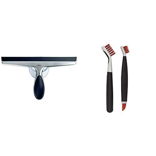 OXO Good Grips Stainless Steel Squeegee & Good Grips Deep Clean Brush Set - Orange