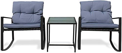 Casamudo Patio Furniture Set of 2 Rocking Chairs with Glass Table, 3 Pieces Metal Frame Outdoor Wicker Patio Chairs, Front Balcony Porch Ergonomic Furniture, Gray