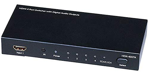 Monoprice Blackbird 4x1 HDMI 1.4 Switch - HDCP 1.4, with Toslink, Digital Coax and Analog Audio Extractor, 1080p 60Hz, DAC (Compatible with PS4/5 Xbox Apple TV Fire Stick Roku Blu-Ray Player)