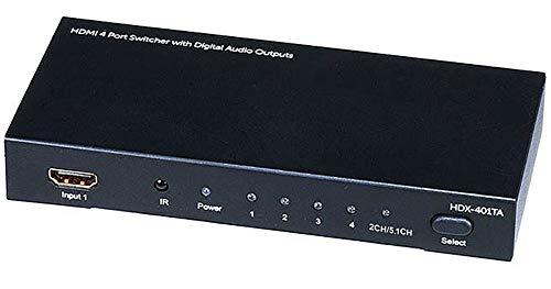 Monoprice 105557  Blackbird 4x1 HDMI 1.4 Switch HDCP 1.4 with Toslink and Analog Audio Extractor  1080p@60Hz