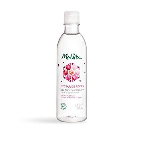 Melvita - Eau Micellaire Nectar de Roses - Démaquillante et Nettoyante - Pour une peau Nette et Douce - Certifiée Bio et Naturelle à 99% - Formule Vegan - Fabriquée en France - Flacon 200 ml