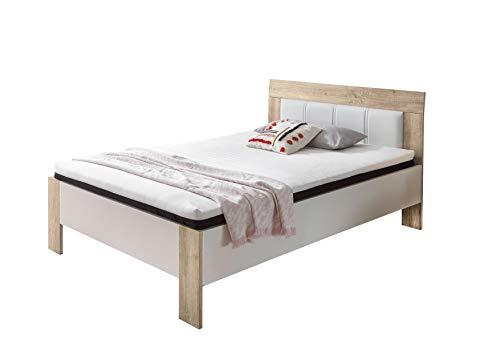 DEINE TANTE EMMA 22-140-68 Sofia Sonoma Eiche Sägerau/Weiß Bett Jugendbett Gästebett Einzelbett Futonbett inkl. Rost Matratze 140 x 200 cm