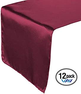Wavewater Burgundy Satin Table Runners 12-Pack (12 x 108 inch) Long, Elegant, Decorative Party Decor | Wedding, Banquet, Graduation, Business Events | Fits Rectangular & Round Surfaces