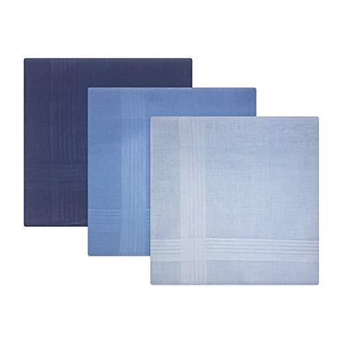 Warwick & Vance Confezione da 3 fazzoletti da uomo con bordi in raso a righe, 100% cotone, 40 x 40 cm Blue Taglia unica