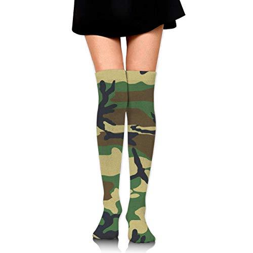 Bosbweo Calcetines altos de talla única Woodland Camo Calcetines deportivos hasta el muslo