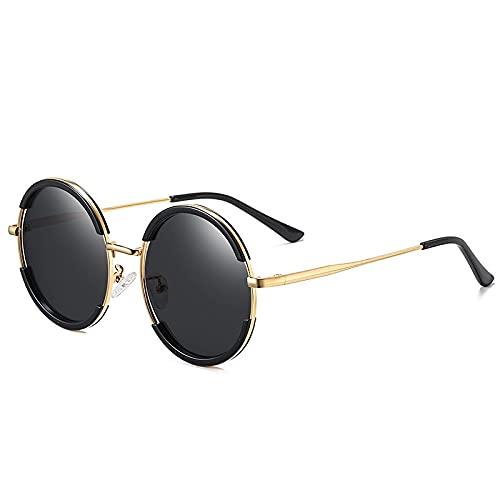 HAOMAO Gafas de sol polarizadas gradiente redondas con montura de metal vintage Uv400 para hombres y mujeres, gafas circulares doradas