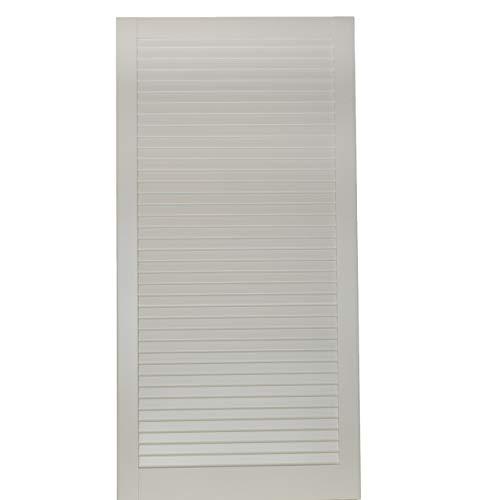 1-er Pack/Ein Stück Lamellentüren weiß seidenmatt mit geschlossenen Lamellen Kiefernholz 993 x 494 x 21 mm für Regale, Schränke, Möbel - EINBAUFERTIG grundiert & lackiert