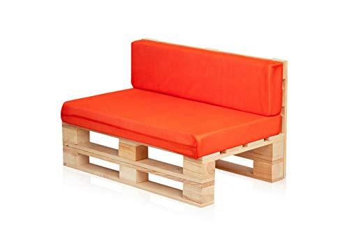 Conjunto Sofa DE PALETS + Set Cojines (Asiento + Respaldo) (120X60, Naranja Transpirable)