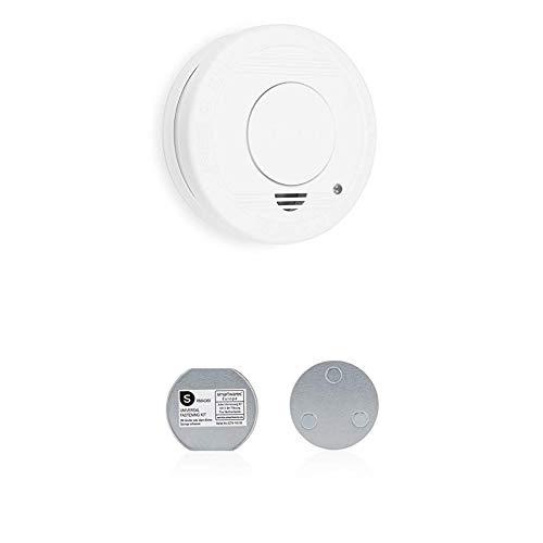 Smartwares FSM-11510 Rauchmelder/Feuermelder, 5 Jahre Batterie TÜV-Zertifiziert RM250, Weiß, 1er Pack + Magnetbefestigungsset für Rauchmelder, 6cm Durchmesser, Silber, 6 cm